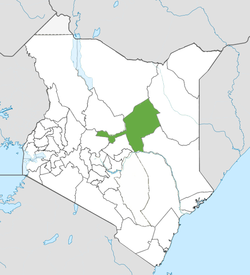 Location of Isiolo County (Green)
