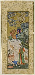 Layla Visiting Majnun in the Desert, page from a copy of the Khamsa of Nizami