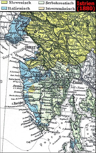 Julian March - Ethnic-linguistic division in Istria and Trieste in 1880. Italians are shown in blue, Slovenes in green, and Croats in aquamarine.