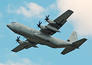 Italian Air Force - Italian Air Force Hercules C-130J-30 departs the 2014 Royal International Air Tattoo,  England