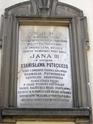 Ivano-Frankivsk - Memorial plaque on the walls of the Regional Art Museum tells about the death of Stanislaw Potocki, son of Andrzej