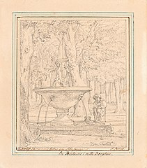 Drawn Study for Scene from the Garden of the Villa Borghese in Rome