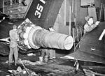 J48 engine of F9F-6 on USS Kearsarge (CVA-33) c1955.jpg