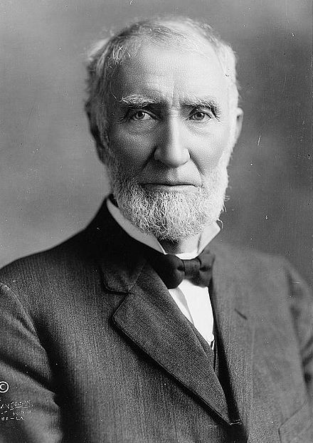Speaker Joseph G. Cannon faced a revolt from his own party, which curtailed the Speaker's powers via the discharge petition and stripping him of direct leadership of the Rules Committee. JGCannon.jpg