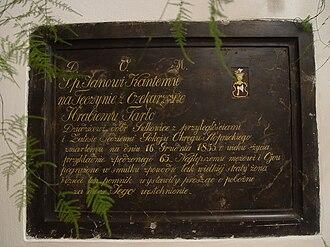 Topór coat of arms - Image: JKRUK 20080815 SZCZAWORYZ KOSCIOL EPITAFIUM JAN TARLO DSC05556