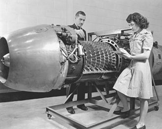 Junkers Jumo 004 - A Jumo 004 engine is being investigated by Aircraft Engine Research Laboratory engineers of the National Advisory Committee for Aeronautics in 1946
