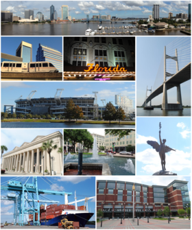 Top, left to right: Downtown Jacksonville, Jacksonville Skyway, Florida Theatre, Dames Point Bridge, TIAA Bank Field, Prime F. Osborn III Convention Center, James Weldon Johnson Park, statue in Memorial Park, JAXPORT, VyStar Veterans Memorial Arena