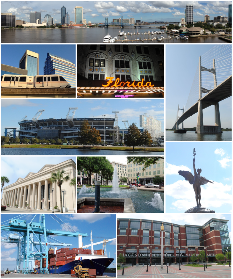 Top, left to right: Downtown Jacksonville, Riverplace Tower, statue in Memorial Park, Jacksonville Skyway, Florida Theatre, Prime F. Osborn III Convention Center, Hemming Park