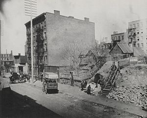 Hell's Kitchen, Manhattan - Hell's Kitchen and Sebastopol, c. 1890, photographed by Jacob Riis