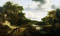 Jacob van Ruisdael - Landscape with footbridge fisherman and horsemen.jpg