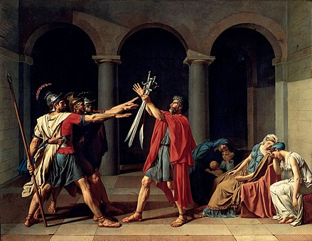 Oath of the Horatii; by Jacques-Louis David; 1784; oil on canvas; height: 330 cm, width: 425 cm; Louvre Jacques-Louis David, Le Serment des Horaces.jpg