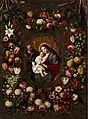 Jan Brueghel II, Jan van Balen (attr.) - Flower garland with Holy Family.jpg