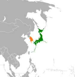 Map indicating locations of Japan and South Korea