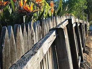Typical Western Australian jarrah picket fence...