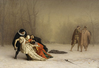 Jean-Léon Gérôme - The Duel After the Masquerade (ca. 1857–59) depicts a duel after a costume ball in Bois de Boulogne, Paris. The Walters Art Museum