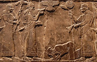 Iraq - Jehu, king of Israel, bows before Shalmaneser III of Assyria, 825 BC.