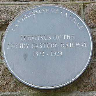 Jersey Eastern Railway - Plaque at the former Snow Hill terminus in St Helier
