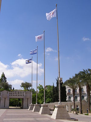 Hapoel - flags of Hapoel on Safra square in Jerusalem