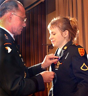Jessica Lynch - Jessica Lynch is awarded the Bronze Star, Prisoner of War, and Purple Heart medals on July 22, 2003