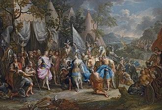 Amazons - Thalestris, Queen of the Amazons, visits Alexander by Johann Georg Platzer