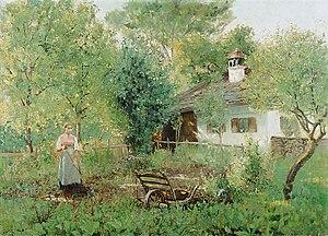 Johann Sperl - Johann Sperl:  Mädchen im Bauerngarten,c. 1885
