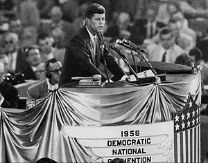 1956 Democratic National Convention - Senator John F. Kennedy nominates Stevenson as the Democratic candidate for president.