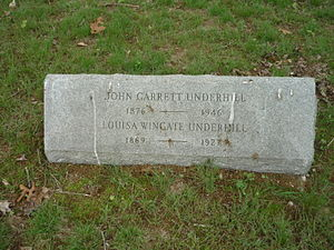 John Garrett Underhill - John Garrett Underhill and Louisa Man Wingate headstone at the Underhill Burying Ground in Lattingtown, New York.