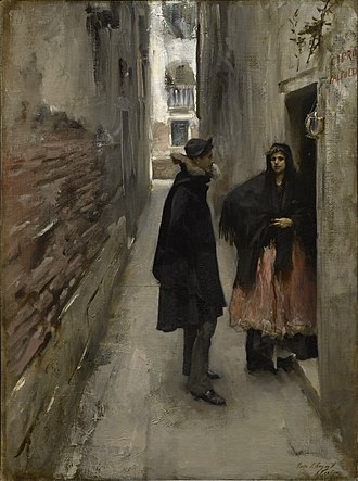 Street in Venice - Sargent's A Street in Venice, 1880-81. This work contains similar use of chiaroscuro and geometrical framing