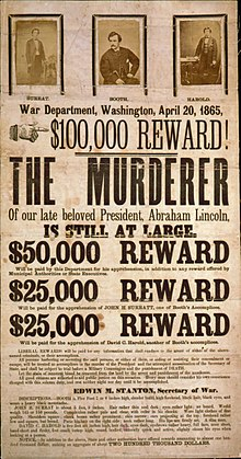 A reward poster hunting for John Wilkes Booth for the murder of Abraham Lincoln posted by the U.S. government