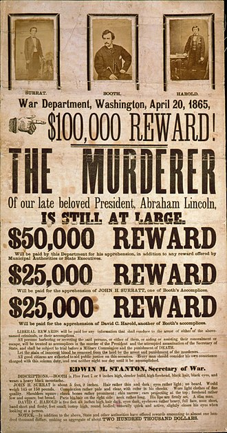 Wanted poster - Wanted poster for John Wilkes Booth and his accomplices in the assassination of Abraham Lincoln