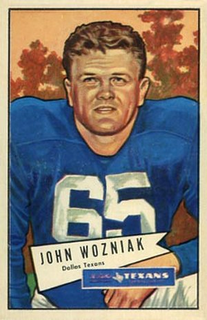 John Wozniak (American football) - Wozniak on a 1952 Bowman football card