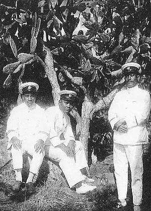 Native Austronesian police officers of Truk Island, circa 1930. Truk became a possession of the Empire of Japan under a mandate from the League of Nations following Germany's defeat in World War I. Jokyoin and Junkei.JPG