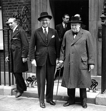 Churchill with US ambassador Joseph Kennedy in 1939. Joseph Kennedy Churchill.jpg