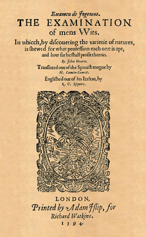 Juan Huarte de San Juan - Front page of ″The examination of mens wits″ (edition 1594; first English edition).