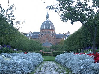Rosenørns Allé - Julius Thomsens Plads with St. Mark's Church as a backdrop