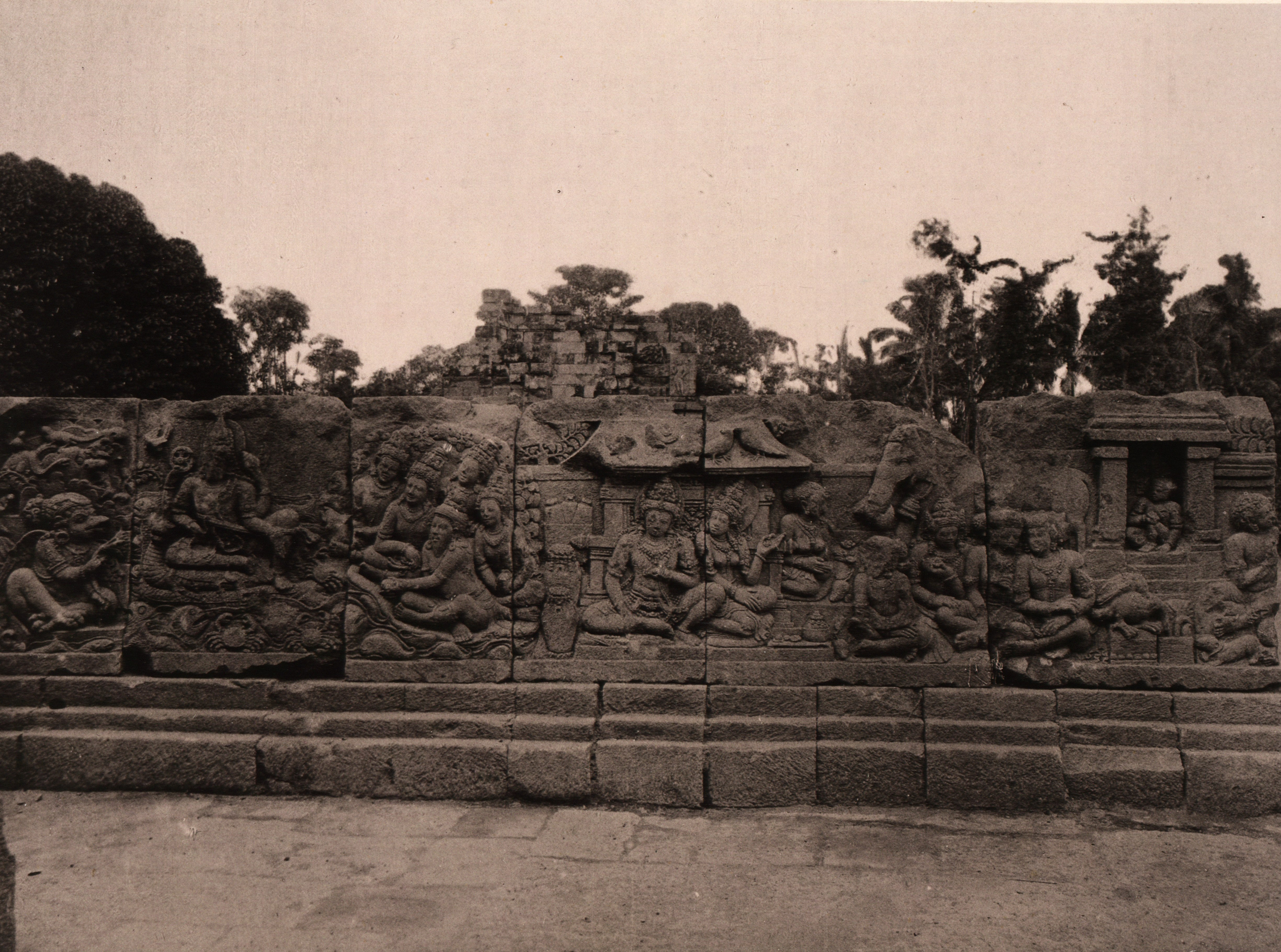 File kitlv 155161 kassian c phas reliefs on the for Terrace yogyakarta