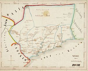Dutch–Ahanta War - Map of the District of Butre, made in 1859 by the Dutch resident at Fort Batenstein. The town of Busua, of which Badu Bonsu II was chief, is shown on the coast, on the border between the District of Butre and the British District of Dixcove.