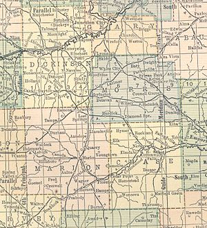 Saffordville, Kansas - 1914 Regional Railroad Map