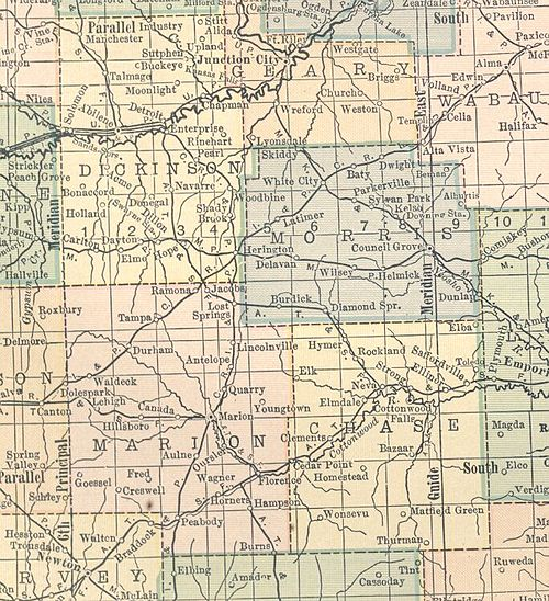 Thurman's location according to a 1914 atlas Kansas Map 1914 Chase Dickinson Marion Morris.jpg