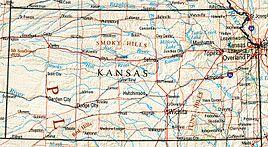 Geographische Karte Kansas'