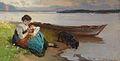 Karl Raupp Mutter mit Kind am Ufer des Sees.jpg