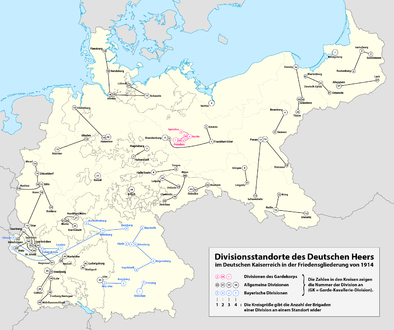 Location of the German divisions 1914