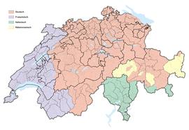 Karte Schweizer Sprachgebiete 2016