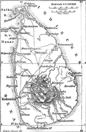 History of British Ceylon - Late 19th century German map of Ceylon.