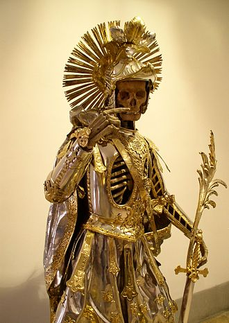 Catacomb saints - A relic from the Holy Catacombs of Pancratius. Image taken at an exhibition at the Historical Museum St. Gallen in Wil, Switzerland