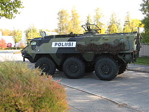 Kauhajoki school shooting - A Sisu Pasi armoured vehicle near the scene of the shooting.