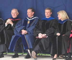 David A. Bednar - Bednar at the April 2008 BYU Commencement with Cecil O. Samuelson, Elaine S. Dalton, and W. Rolfe Kerr