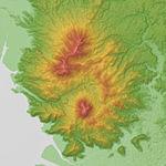 Kinbo (Kinpo) Volcano Relief Map, SRTM-1.jpg