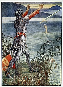 King Arthur Sir Bedivere throwing Excalibur into the lake by Walter Crane.jpg