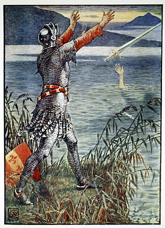 Bedivere - Sir Bedivere throwing Excalibur into the lake. Illustration by Walter Crane (1845)